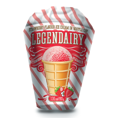 legendairy strawberry flavour ice cream in waffle cone picture