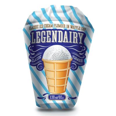 legendairy vanilla flavour ice cream in waffle cone picture