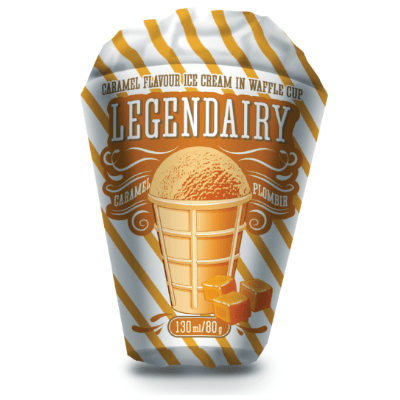 legendairy caramel flavour ice cream in waffle cone picture