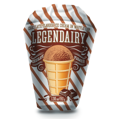 legendairy chocolate flavour ice cream in waffle cone picture