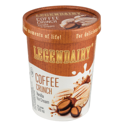 Picture of 'Legendairy' vanilla flavour ice cream in a tub with coffee crunch