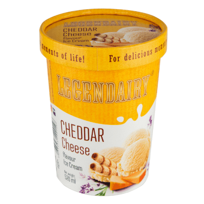 Picture of 'Legendairy' cheddar cheese flavour ice cream in a tub