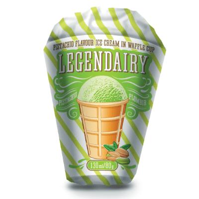 legendairy pistachio flavour ice cream in waffle cone picture